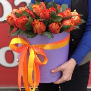 25 огненных роз в коробке